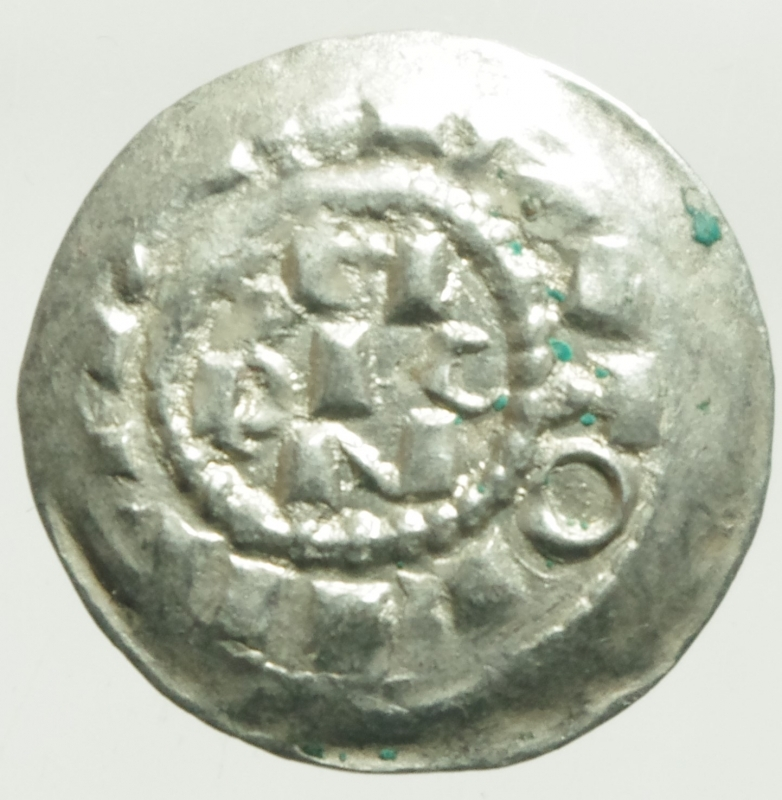 reverse: Zecche Italiane. Milano. Enrico II di Sassonia (1014-1024). Denaro scodellato. B. 1410. AG. g. 1.15 SPL