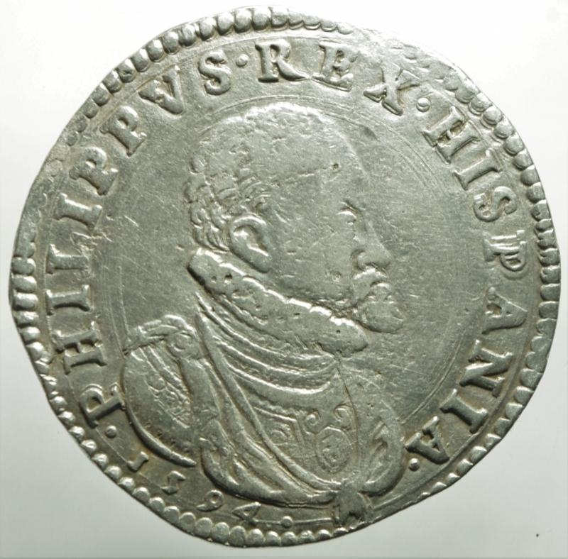 obverse: Zecche Italiane.Milano. Filippo II re di Spagna (1556-1598). Scudo 1594 AG gr. 31,87. Crippa 15/C. MIR 308/25. Olivares 47 (12 tipo). Molto raro. BB
