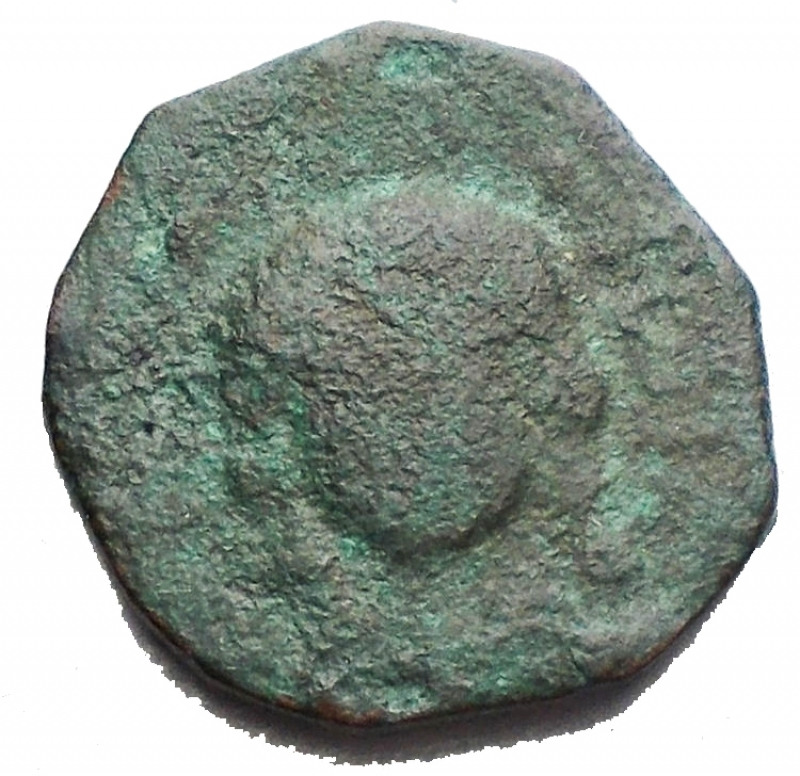 obverse: Zecche Italiane -Mileto. Trifollaro Ae. d/Cristo con nimbo perlinato. r/Croce. g 2,63. Emissioni anonime dei Normanni. qBB. R