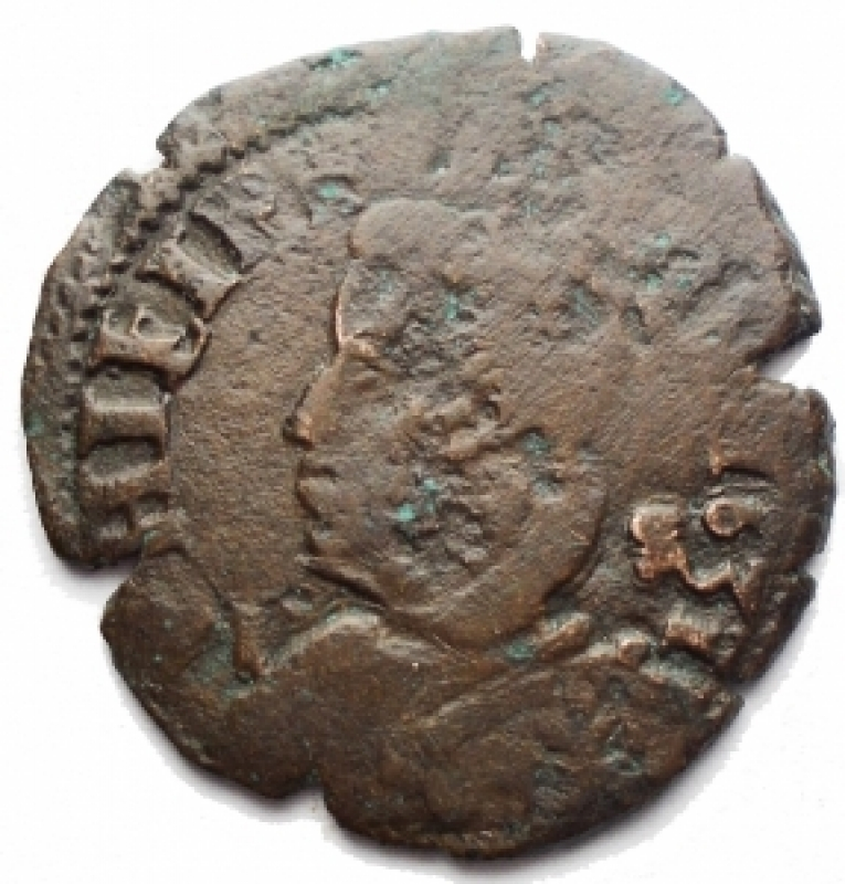 obverse: Zecche Italiane . Napoli. Filippo IV (1621-1665). Tornese 1631. AE. g 4,56. MB.RR