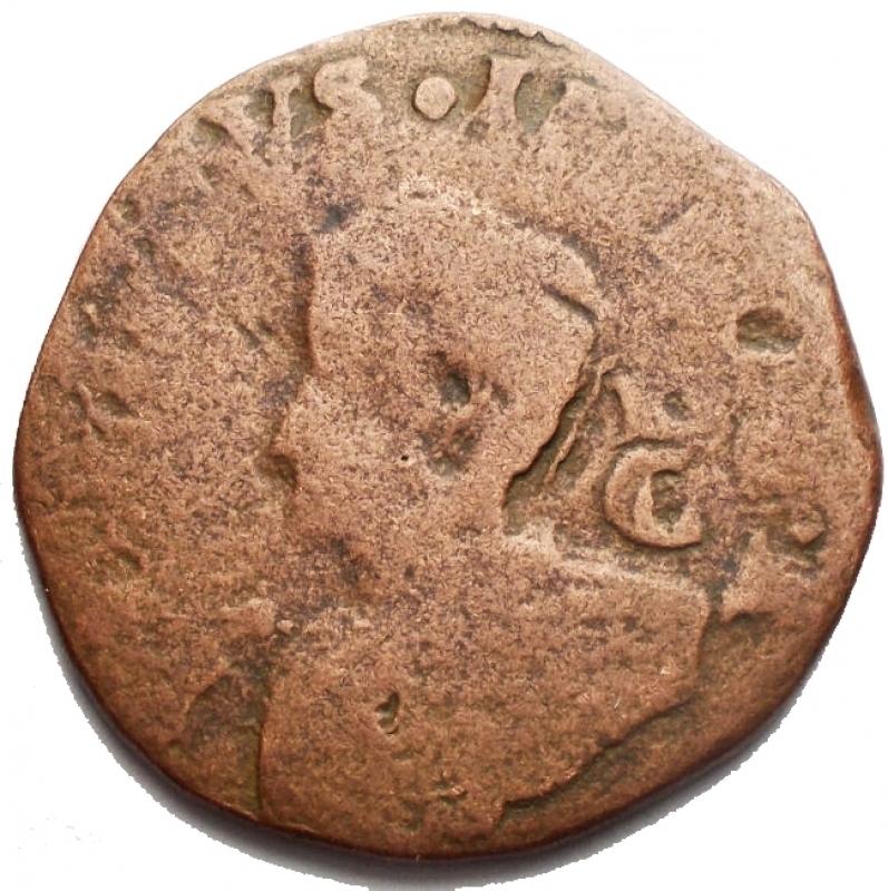 obverse: Zecche Italiane - Napoli. Filippo IV. 9 Cavalli 1629. Ae. MB+. R.