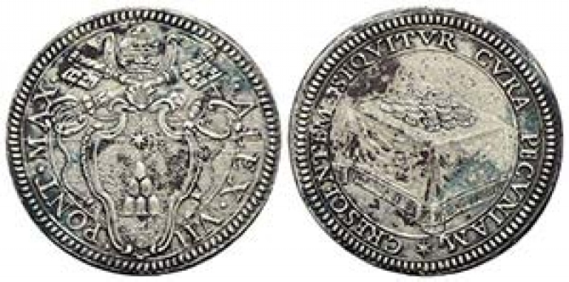obverse: Zecche Italiane.Roma. Alessandro VII (1655-1667). Giulio AG gr. 3,08. Muntoni 14. Berman 1904. MIR 1853/2. Peso 2,95 gr.BB+. ex Bertolami e90 lotto 425