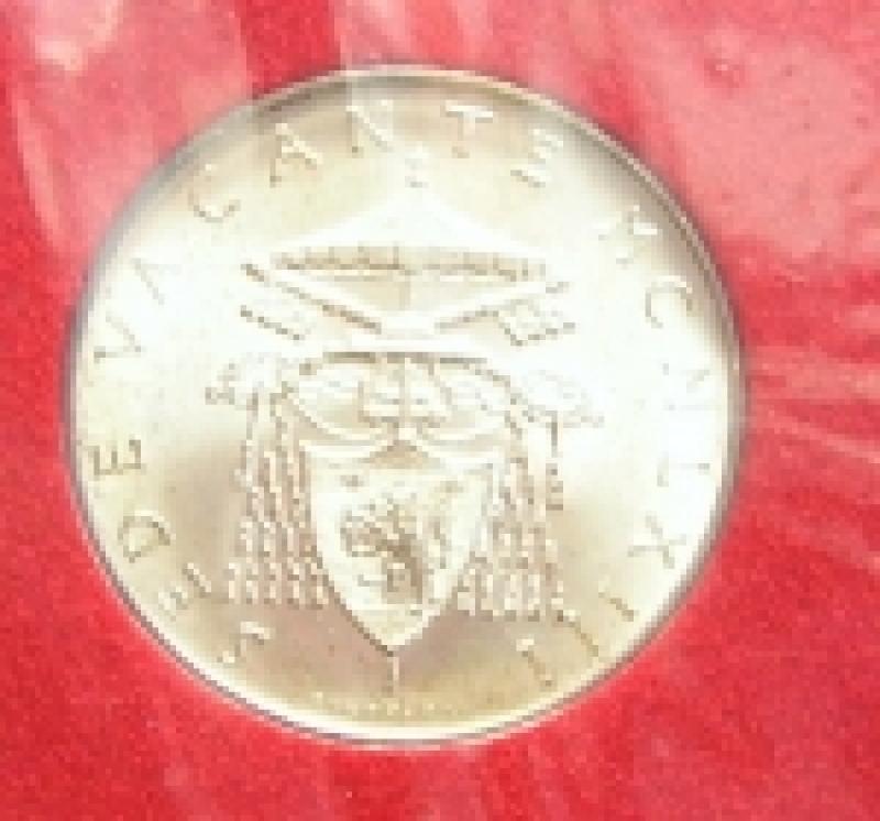reverse: Zecche Italiane. Vaticano. Sede vacante 1963. 500 lire in confezione originale.