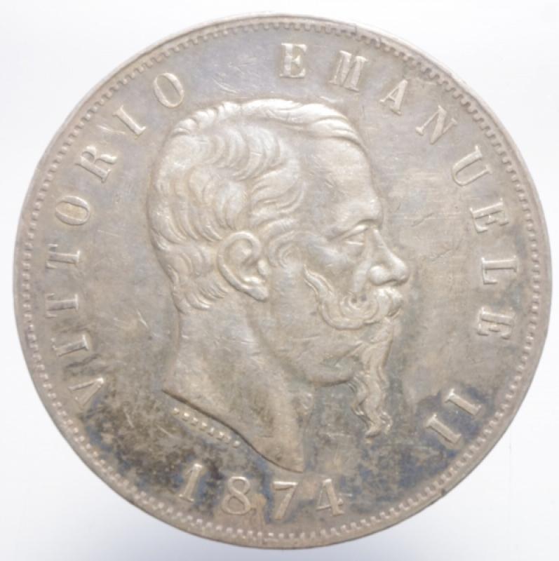 obverse: Casa Savoia. Vittorio Emanuele II. 5 Lire 1874. Milano. BB+.