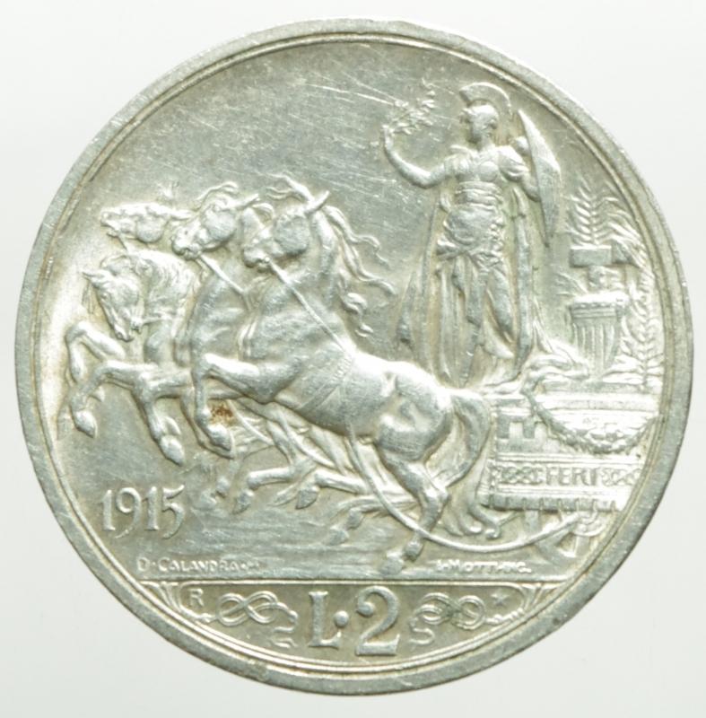 reverse: Casa Savoia. Vittorio Emanuele III. 2 Lire 1915 Quadriga Briosa. Peso 10 gr. Diametro 27 mm. Ag. SPL.