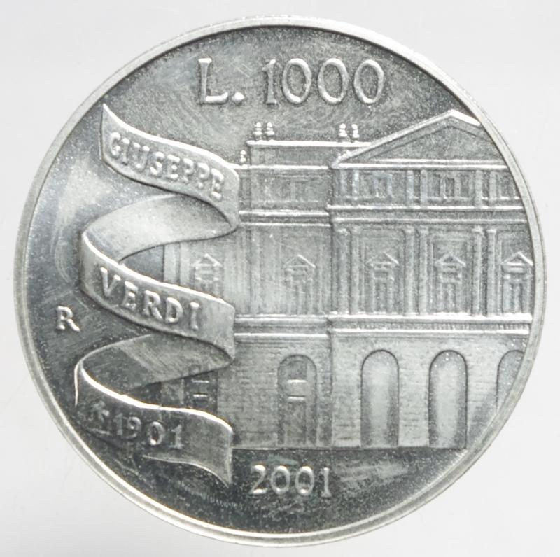reverse: Repubblica Italiana.1000 lire Verdi 2001.ar.FDC.ga