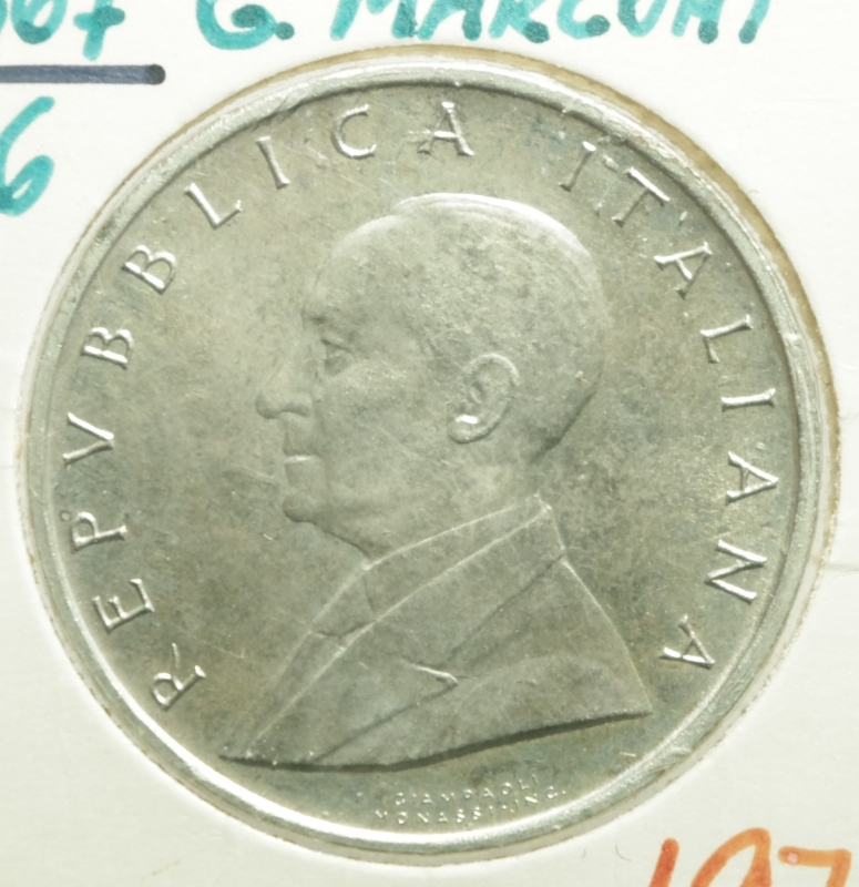 obverse: Repubblica Italiana. 500 Lire. Guglielmo Marconi. 1974. FDC.