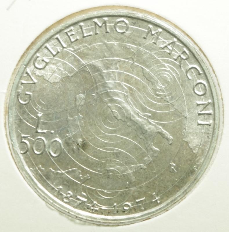 reverse: Repubblica Italiana. 500 Lire. Guglielmo Marconi. 1974. FDC.