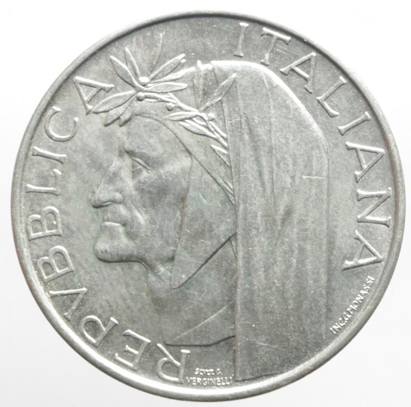 obverse: Repubblica Italiana. 500 Lire 1965. Dante Alighieri. Ag. Gigante 42. qFDC.Patina