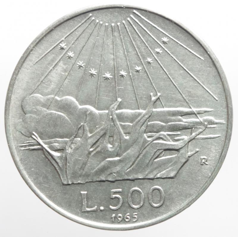 reverse: Repubblica Italiana. 500 Lire 1965. Dante Alighieri. Ag. Gigante 42. qFDC.Patina