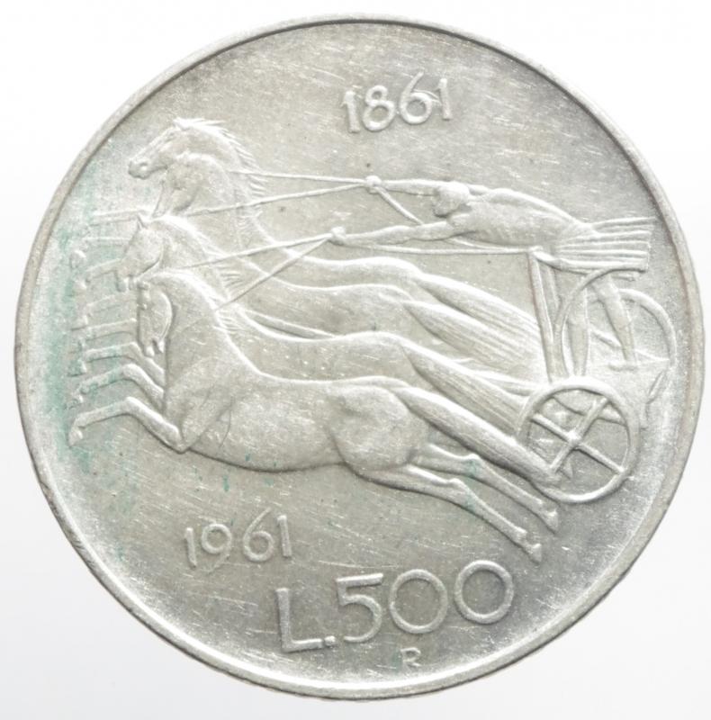 obverse: Repubblica Italiana. 500 lire 1961.Unit d  Italia Centenario. FDC.