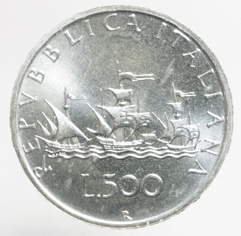 obverse: Repubblica Italiana. 500 lire Caravelle 2001.ag.FDC.ga