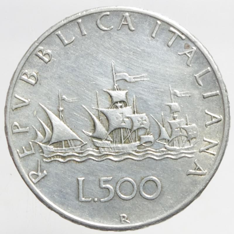 obverse: Repubblica Italiana. 500 lire Caravelle 1960.ag.BB.ga