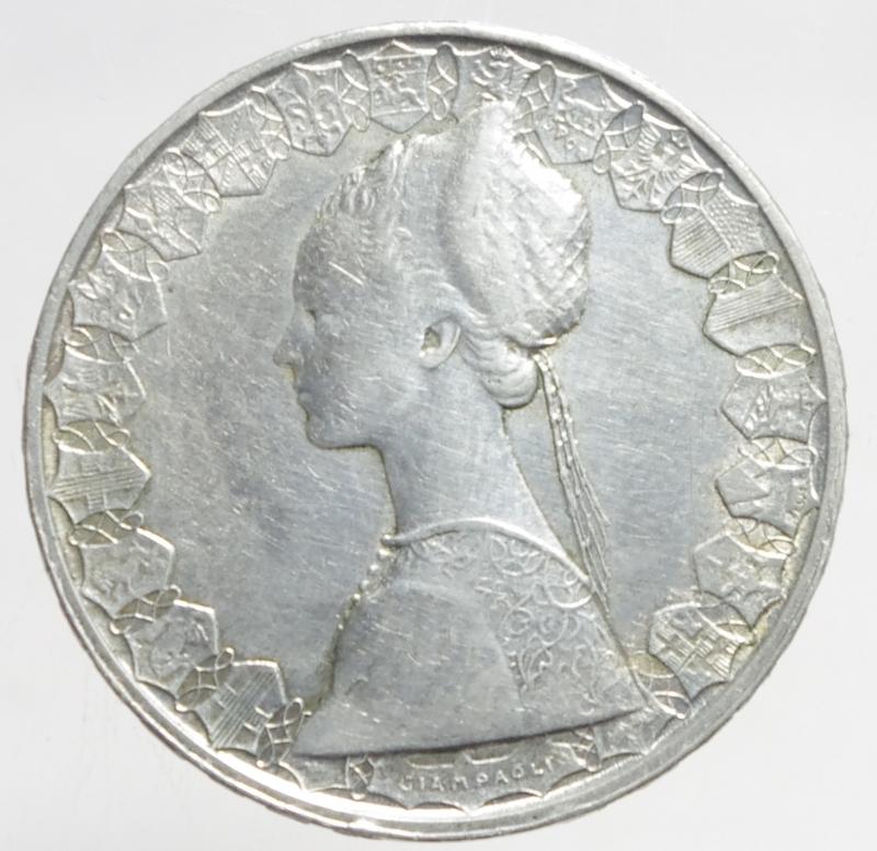 reverse: Repubblica Italiana. 500 lire Caravelle 1960.ag.BB.ga