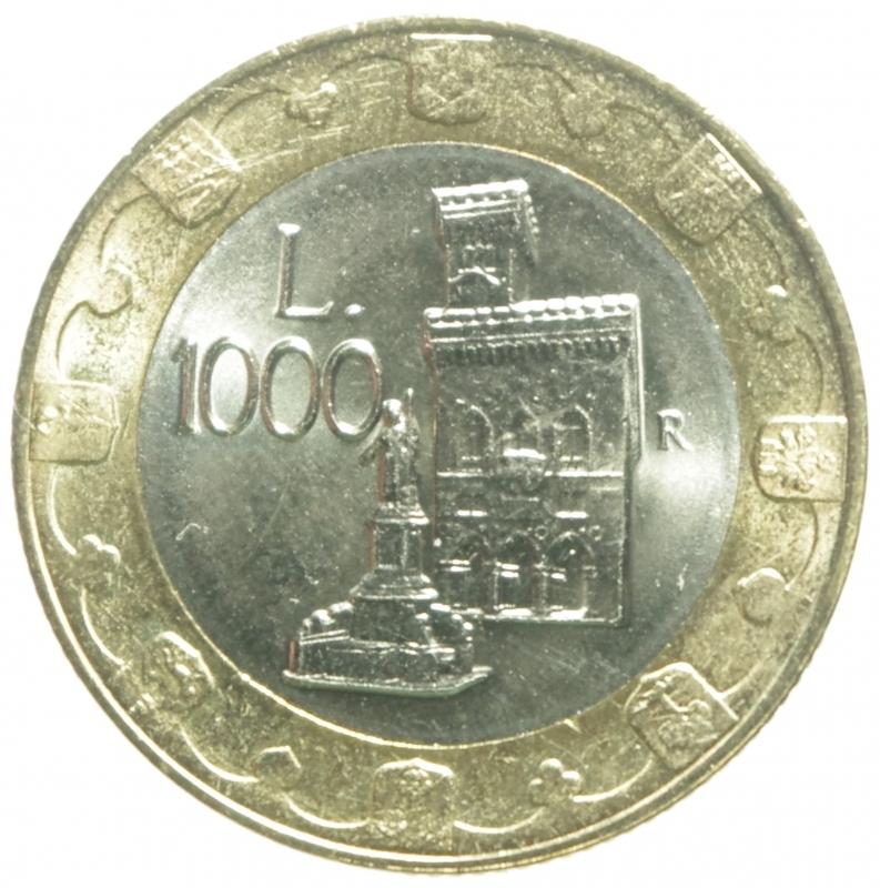 reverse: San Marino.1000 Lire bimetalliche 1997.FDC