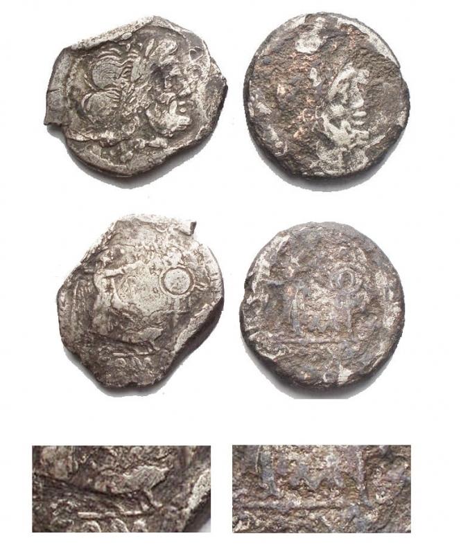 obverse: Lotti - Repubblica Romana. 2 Vittoriati in Ag con simboli