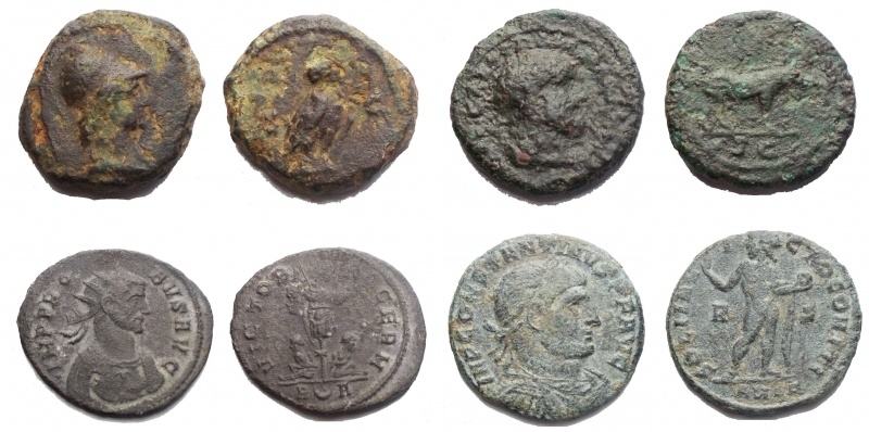obverse: Roman Empire lot 4 pieces   - Period from Domitian to Antoninus Pius. Clock face. D / Helmeted bust of Athena to the right. R / Civetta to the left, SC On the outside. Weight 3.7 gr. Diameter 14.97 mm. RIC. 8. F-aVF  - Trajan. 98-117. A.D. Clock face. d / Bust of Hercules to the right. r / Boar to the right, in the exergue SC. Ric 702. Weight 3.4 gr. Diameter 16.1 mm. aVF.  - Probus. 276-282 AD Antoninianus. Rome d / IMP PROB VS AVG. Bust to the right. r / VICTOR (IA) GERM Trophy with two prisoners underneath, increasing R in exergue A Weight 3.6 gr. Diameter 23.6 mm. aVF  - Constantinus I °. 306-337 A.D. Follis. Ae. D / IMP COSTANTINVS PF AVG, Graduated head to the right. R / SOLI INVICTO COMITI, the sun radiated to the left holds the globe, in the R and S field. Weight 3.2 gr. Diameter 18.8 mm. VF. Green patina