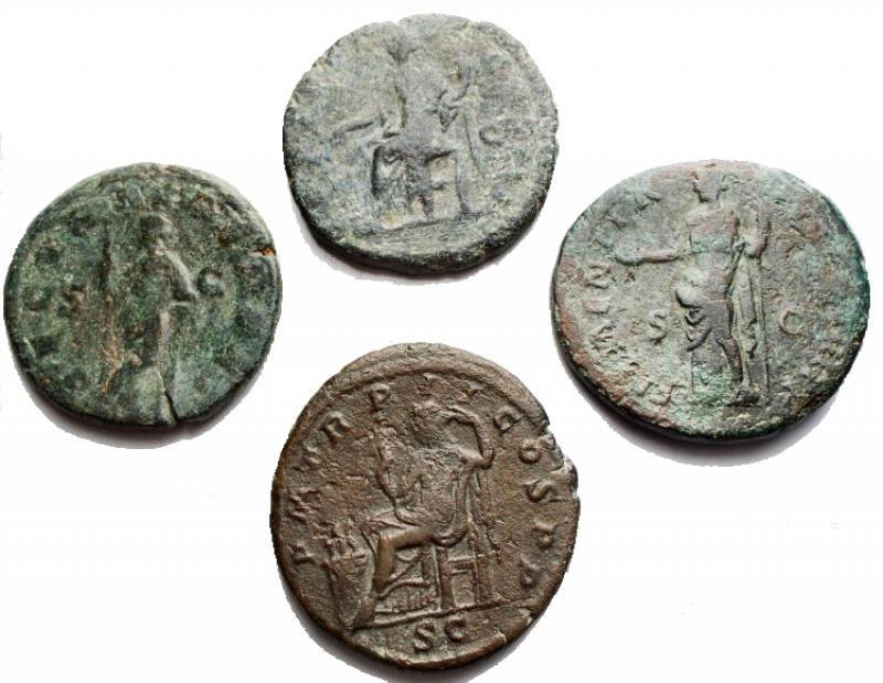 reverse: Lotti - Impero Romano. Insieme di 4 Medi Bronzi