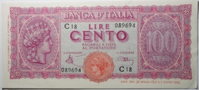 obverse: Cartamoneta. Luogotenenza. 100 Lire Italia Turrita. Decreto 7 agosto 1943. Introna - Urbini. qSPL.