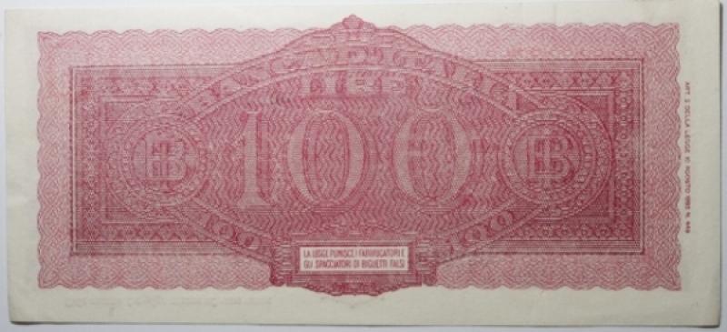 reverse: Cartamoneta. Luogotenenza. 100 Lire Italia Turrita. Decreto 7 agosto 1943. Introna - Urbini. qSPL.
