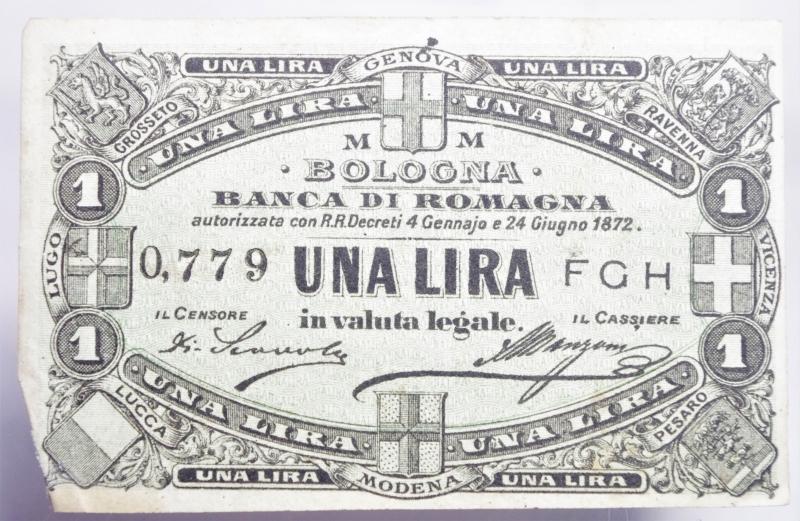 obverse: Banconote. Banca di Romagna Bologna. Biglietto fiduciario da 50 centesimi 01/09/1872. BB+. RR.