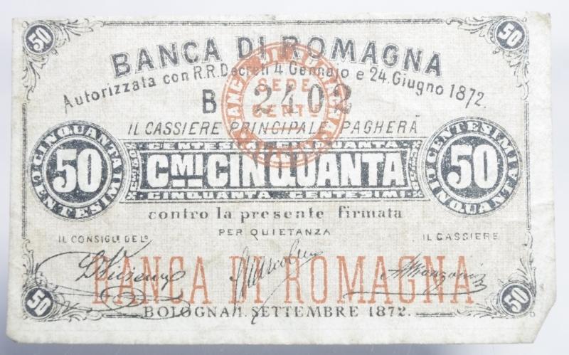obverse: Banconote. Banca di Romagna Bologna. Biglietto fiduciario da 1 Lira. 24/06/1872. Rif. Alfa. FID 6020.11. BB+. RR.