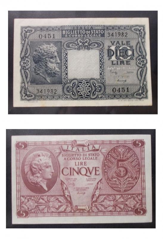 obverse: Cartamoneta - Insieme di Due esemplari Biglietti di Stato da 5 e 10 lire (1)