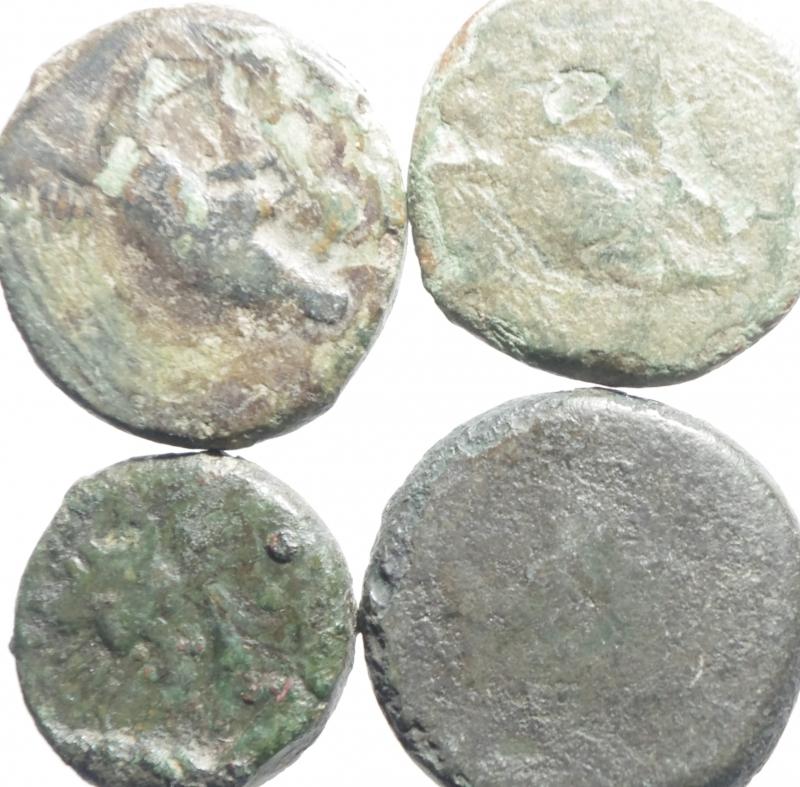 obverse: Mondo Greco.Akragas.Lotto di 4 monete in ae,mediamente MB+.