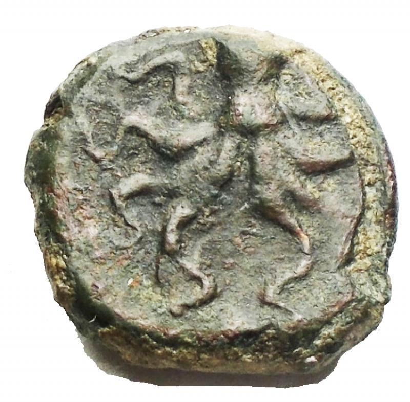 obverse: Mondo Greco -Sicilia.Siracusa.AE 13 mm. dopo il 400 a.C.D/ Testa di Arethusa a sinistra.R/ Polipo.SNG ANS 389.g 3,2.qBB. Patina verde