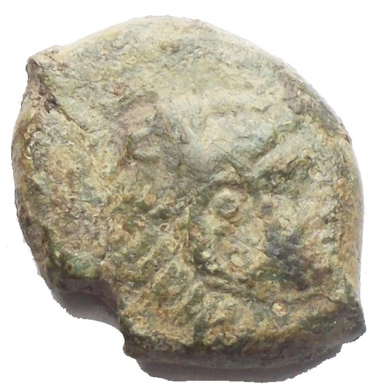 obverse: Mondo Greco - Sicilia. Solus. AE. ca. 400 a.C. D/ Testa di giovane Eracle a destra. R/ Ippocampo a sinistra. Calciati 3. gr. 2,78. BB+ RR. Bella patina verde.