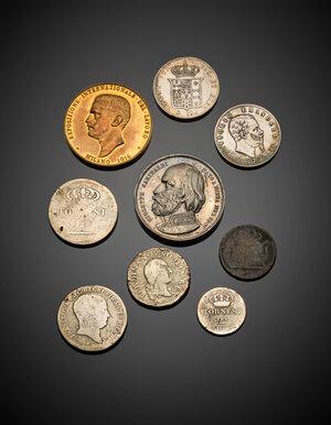 obverse: Miscellanea di monete e medaglie del XIX secolo composto da nove pezzi in conservazione non ottimale.