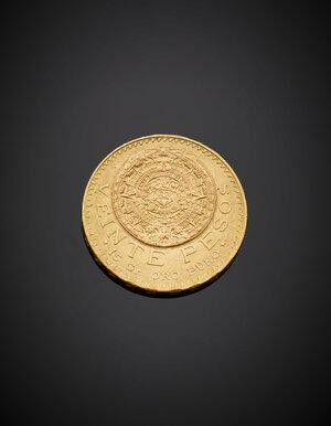 obverse: Moneta da venti Pesos degli Estatos Unidos Mexicanos, conio 1959, g 16,67 circa, diam. cm 2,80 circa.  -EN  Twenty Pesos yellow gold coin of the Estados Unidos Mexicanos, 1959 issue, g 16.67 circa, diam. cm 2.80 circa.