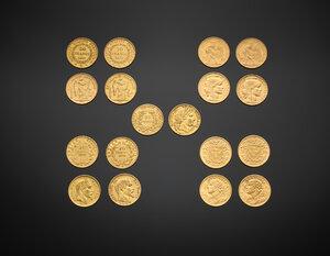 obverse: Interessante collezione, proveniente da una nobile famiglia italiana, di 190 pezzi di monete d oro, in particolare dell area francese dell ottocento.  Un bell insieme di monete da esaminare.