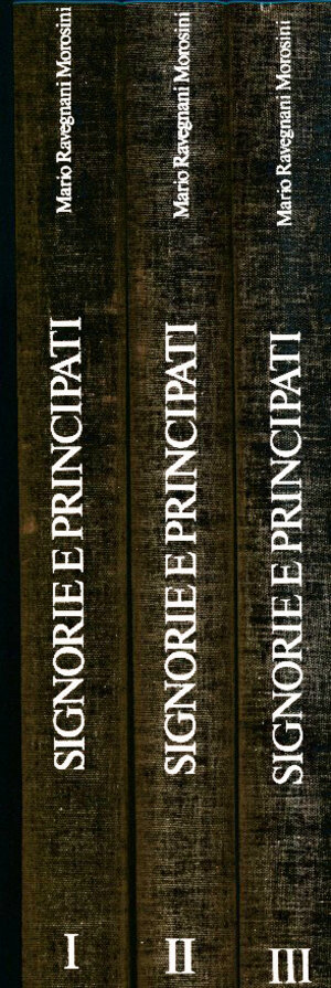 obverse: Ravegnani Morosini Mario - Signorie e Principati. MONETE ITALIANE CON RITRATTO 1450-1796. 3 volumi. Maggioli Editore. 1984. In-4,  pp. LXIII, 368 (vol.I); 402 (vol.II); 418 (vol.III); numerose illustrazioni n.t., tela editoriale. Opera fondamentale, che ha richiesto una vita di studio e di passione. Completa di note, classificazioni e passaggi in asta di tutte le monete con ritratto coniate in Italia sino all epea napoleonica ad eccezione dei regni. Edizione di 1000 esemplari numerati. Copia 305 di 1000 (3 vol) Buono stato. Prezzo originale 400.000 Lire.