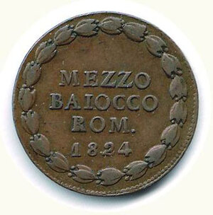 reverse: BOLOGNA - Leone XII (1823-1829) - Mezzo Baiocco 1824.