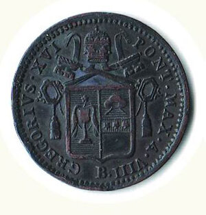 obverse: BOLOGNA - Gregorio XVI - ½ Baiocco 1838.