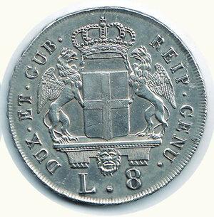reverse: GENOVA - 8 Lire 1796