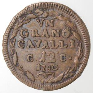 reverse: Napoli. Ferdinando IV. 1759-1799. 1 Grano 12 Cavalli 1790 CC. Ae.
