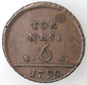 reverse: Napoli. Ferdinando IV. 1799-1803. 6 tornesi 1799 RC. Ae.