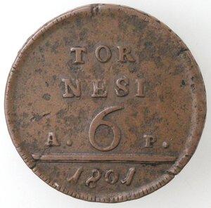 reverse: Napoli. Ferdinando IV. 1799-1803. 6 tornesi 1801 AP. Ae.