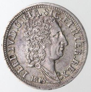 obverse: Napoli. Ferdinando I. 1816-1825. Carlino 1816. 5 Aggiustato a 6. Ag.