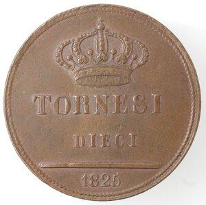 reverse: Napoli. Francesco I. 1825-1830. 10 Tornesi 1825. Ae.