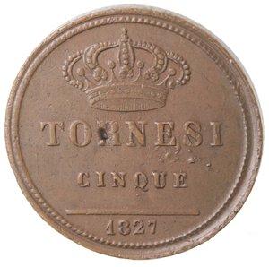 reverse: Napoli. Francesco I. 1825-1830. 5 Tornesi 1827. Ae.