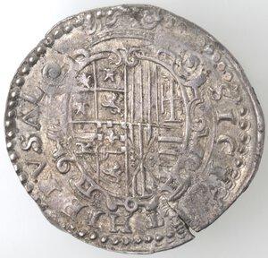 reverse: Napoli. Filippo II. 1556-1598. Mezzo Ducato. Ag.