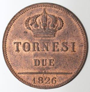 reverse: Napoli. Francesco I. 1825-1830. 2 Tornesi 1826. Ae.