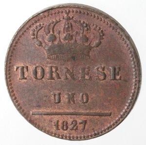 reverse: Napoli. Francesco I. 1825-1830. Tornese 1827. Ae.