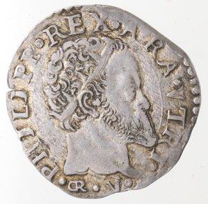 obverse: Napoli. Filippo II. 1554-1556. Carlino. GR/VP. Ag.