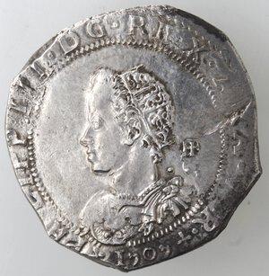 obverse: Napoli. Filippo III. 1598-1621. Mezzo Ducato 1909 invece di 1609. Ag.