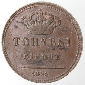 reverse: Napoli. Ferdinando II. 1830-1859. 5 Tornesi 1831. Ae.