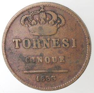 reverse: Napoli. Ferdinando II. 1830-1859. 5 Tornesi 1833. Ae.